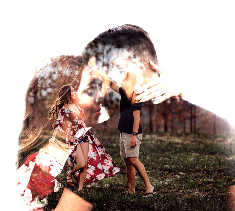 Britt and Bean Photography Couple Photography Double Exposure
