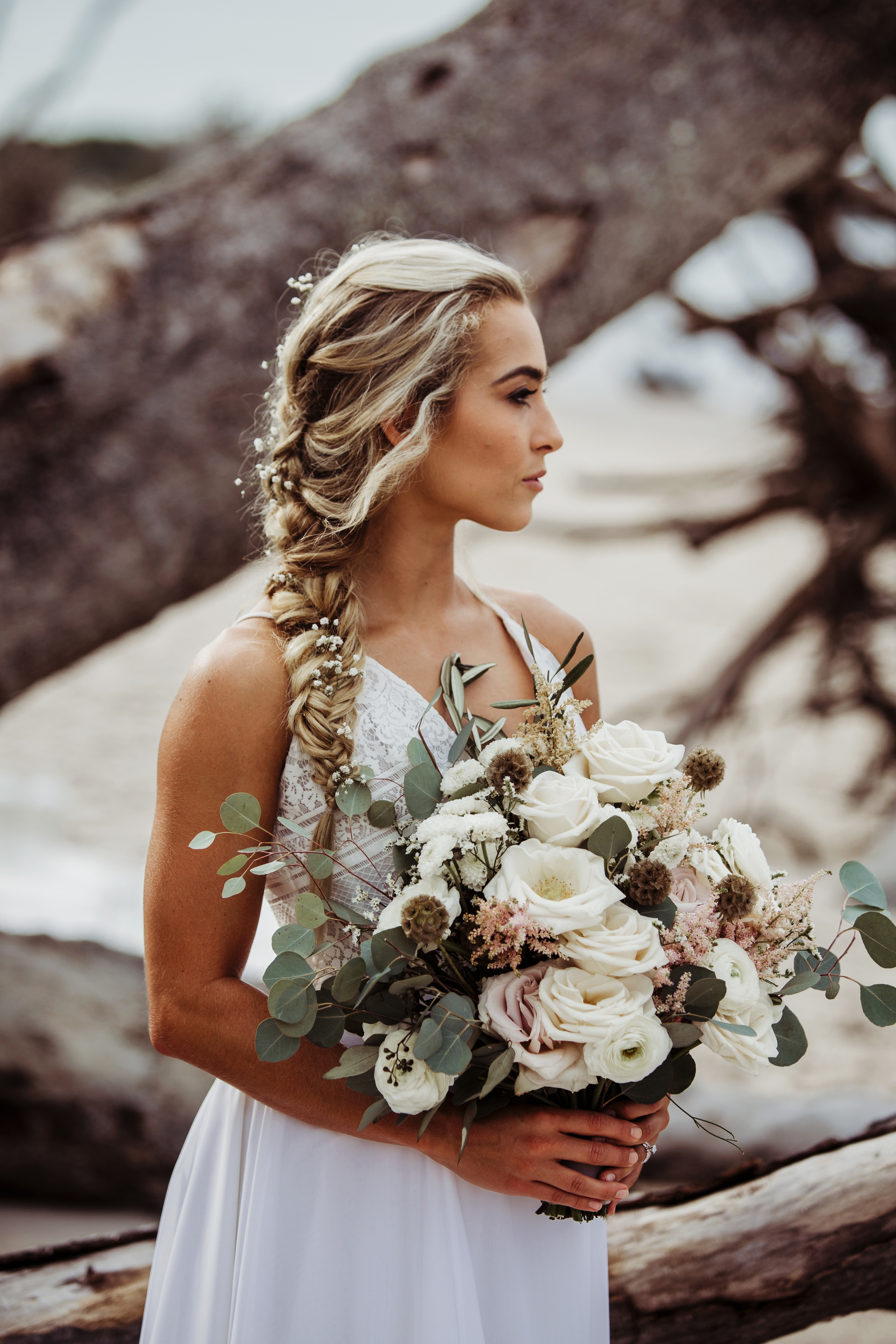 Wedding Photography & Engagement Photography, bride side shot with braided hair