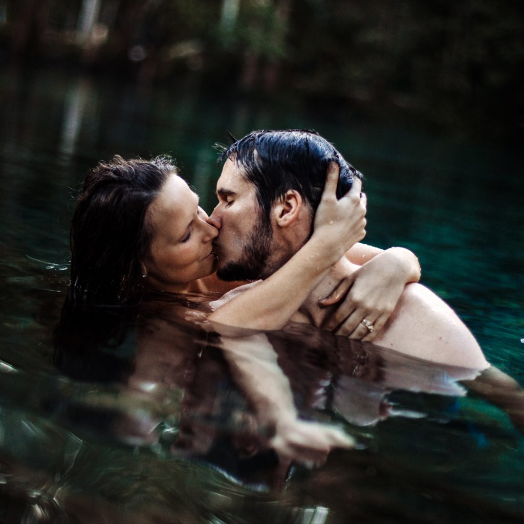 Couples Photography Couple In Water Kissing